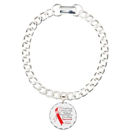 Oral Cancer Strong Survivor Charm Bracelet, One Ch