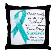 Ovarian Cancer Strong Survivor Throw Pillow