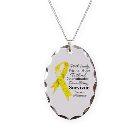 Sarcoma Strong Survivor Necklace Oval Charm