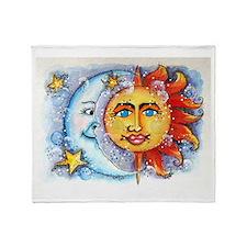 Celestial Sun and Moon Throw Blanket