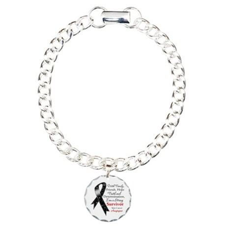 Skin Cancer Strong Survivor Charm Bracelet, One Ch