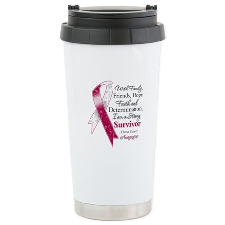 Throat Cancer Strong Survivor Ceramic Travel Mug