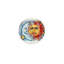 Celestial Sun and Moon Mini Button