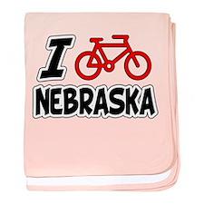 I Love Cycling Nebraska baby blanket