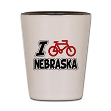 I Love Cycling Nebraska Shot Glass