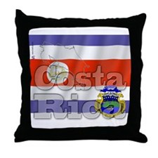 Silky Flag of Costa Rica Throw Pillow