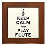 Keep Calm and Play Flute Framed Tile