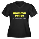Grammar Police Women's Plus Size V-Neck Dark T-Shi