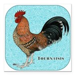 "Tournaisis Rooster Square Car Magnet 3"" x 3&q"