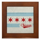 Chicago City Flag - Vintage Framed Tile