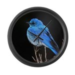 Mountain Blue Bird Large Wall Clock