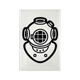 Diving Helmet Rectangle Magnet