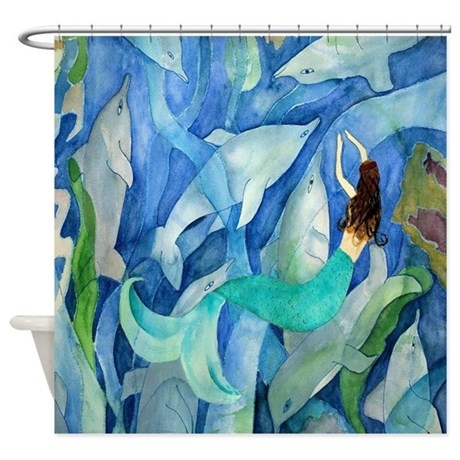 blue abstract mermaid shower curtain