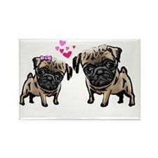 Valentine Pugs Rectangle Magnet