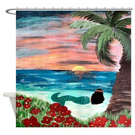 mermaid in hawaiian sunset shower curtain