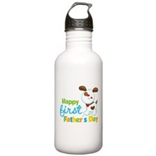 Puppy Dog Happy 1st Fathers Day Water Bottle