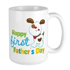 Puppy Dog Happy 1st Fathers Day Mug
