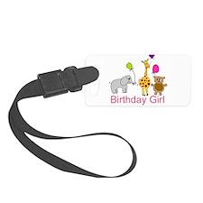 Birthday Girl Zoo Animals Luggage Tag