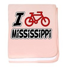 I Love Cycling Mississippi baby blanket