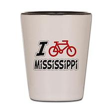 I Love Cycling Mississippi Shot Glass