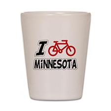 I Love Cycling Minnesota Shot Glass