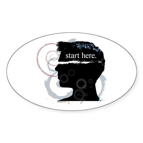 Revolutions Start Here Graphic Oval Sticker