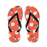Landseer Newfie Little SailboatsTomato Flip Flops