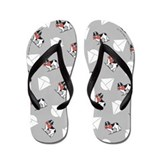 Landseer Newfie Little Sailboats Grey Flip Flops