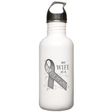 My Wife is a Survivor (grey).png Water Bottle