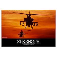 Military Poster: Four AH-64 Apache anti-armor heli