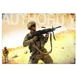 Military Grunge Poster: Authority. A soldier firin