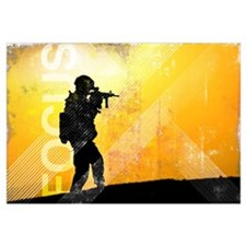 US Army Grunge Poster: Focus. U.S. Army soldier se
