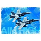 Military Grunge Poster: Aim High. Two F/A-18C Horn