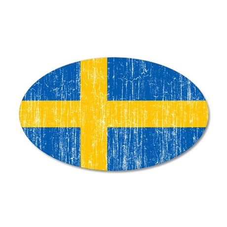 Sweden Flag 20x12 Oval Wall Decal