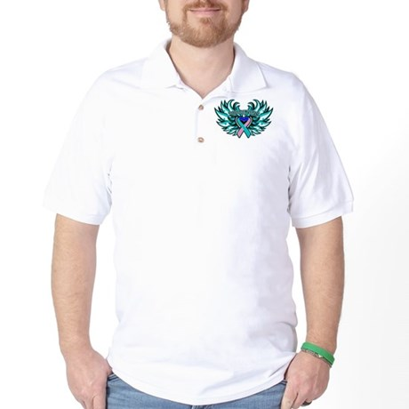 Thyroid Cancer Heart Wings Golf Shirt