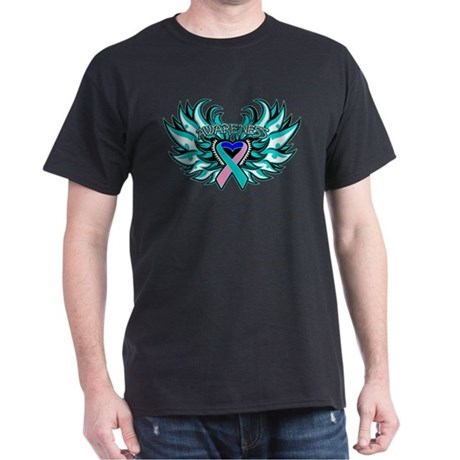 Thyroid Cancer Heart Wings Dark T-Shirt