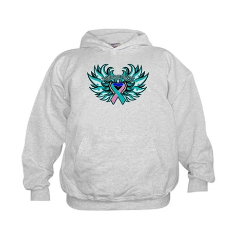 Thyroid Cancer Heart Wings Kids Hoodie