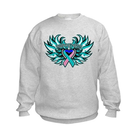 Thyroid Cancer Heart Wings Kids Sweatshirt