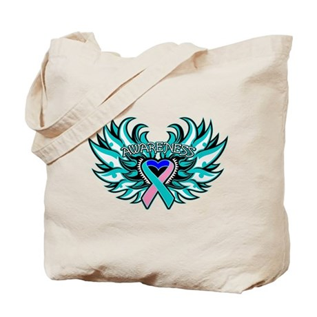 Thyroid Cancer Heart Wings Tote Bag