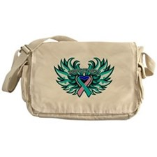 Thyroid Cancer Heart Wings Messenger Bag