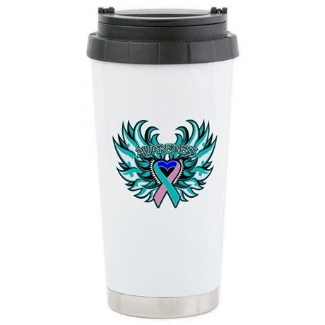 Thyroid Cancer Heart Wings Ceramic Travel Mug