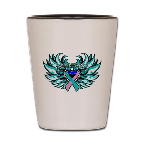 Thyroid Cancer Heart Wings Shot Glass
