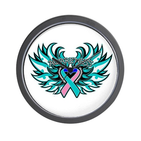 Thyroid Cancer Heart Wings Wall Clock