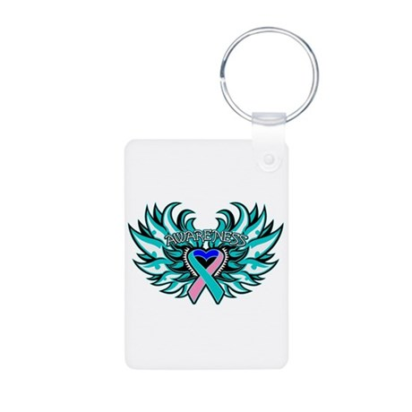 Thyroid Cancer Heart Wings Aluminum Photo Keychain