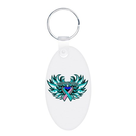 Thyroid Cancer Heart Wings Aluminum Oval Keychain