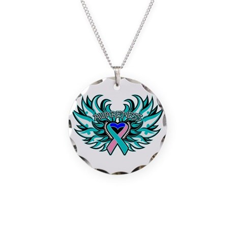 Thyroid Cancer Heart Wings Necklace Circle Charm