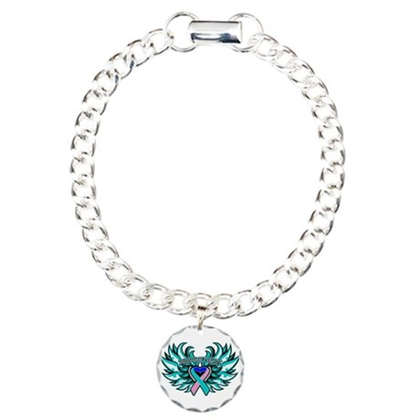 Thyroid Cancer Heart Wings Charm Bracelet, One Cha