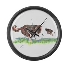Lets Race- Border Collie Large Wall Clock