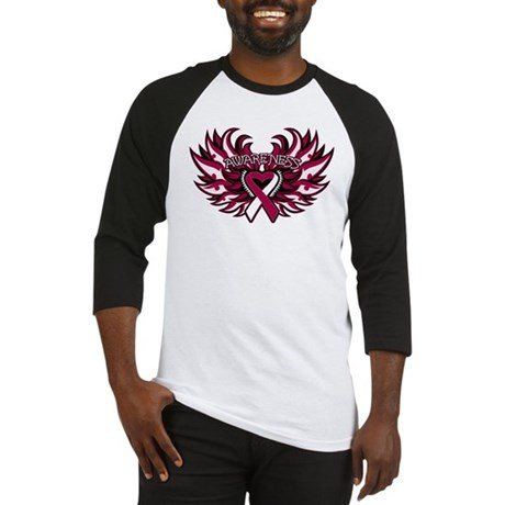 Throat Cancer Heart Wings Baseball Jersey