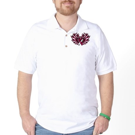 Throat Cancer Heart Wings Golf Shirt
